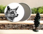 """Red Fox Pocket Mirror - Foxy Canadian Gift - Animal Pocket Mirror 3.5"""" - Large Make Up Mirror - Gift under 10 dollars Girl Gift"""