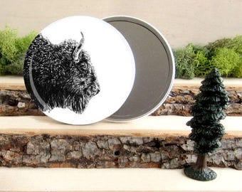 "Bison Pocket Mirror - American Bison - Animal Pocket Mirror 3.5"" - Make up Bag - Make Up Mirror - Gift Under 10 dollars"