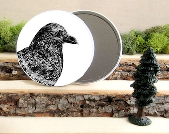 "Crow Pocket Mirror - American Crow Gift - Animal Pocket Mirror 3.5"" - Large Make Up Mirror - Gift under 10 dollars Girl Gift"