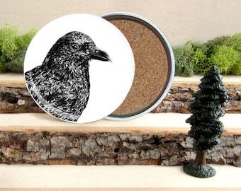 Crow Coaster Set - American Crow Home Decor - Gift for Animal Lover or Outdoorsman Guy Gift - Cork-Bottom Coaster Set