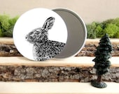 """Bunny Rabbit Mirror - Bunny Pocket Mirror 3.5"""" - Large Make Up Mirror - Cottontail Rabbit - Gift under 10 dollars - gift for young girl"""