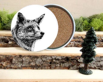 Red Fox Coaster Set - Home Decor - Gift for Animal Lover or Outdoorsman Guy Gift - Cork-Bottom Coaster Set