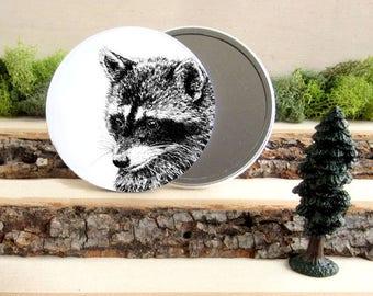 "Raccoon Pocket Mirror - Animal Pocket Mirror 3.5"" - Make up Bag - Make Up Mirror - Coon Racoon Bandit - Gift under 10"