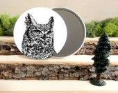 "Horned Owl Pocket Mirror - Owl Mirror - Owl Gift - Animal Pocket Mirror 3.5"" - Make up Bag - Make Up Mirror - Gift under 10 dollars"