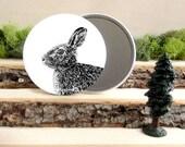 "Rabbit Pocket Mirror - Cottontail Rabbit Bunny Gift - Animal Pocket Mirror 3.5"" - Large Make Up Mirror - Gift under 10 dollars Girl Gift"