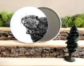 "Beaver Mirror - Beaver Pocket Mirror - Canadian Beaver Gift - Animal Pocket Mirror 3.5"" - Large Make Up Mirror - Gift under 10 dollars"
