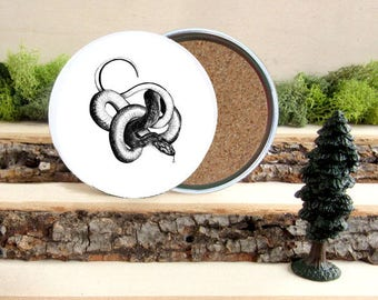 Snake Coaster Set - Home Decor - Gift for Animal Lover or Outdoorsman Guy Gift - Cork-Bottom Coaster Set
