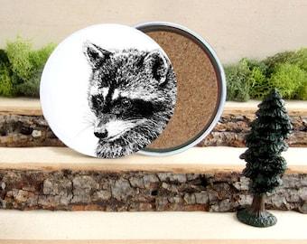 Raccoon Coaster Set - Home Decor - Gift for Animal Lover or Outdoorsman - Cork-Bottom Coaster Set of 4 - Raccoons - Bandits