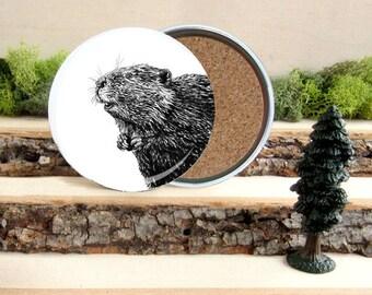 Beaver Coaster Set - Canadian Home Decor - Gift for Animal Lover or Outdoorsman Guy Gift - Cork-Bottom Coaster Set