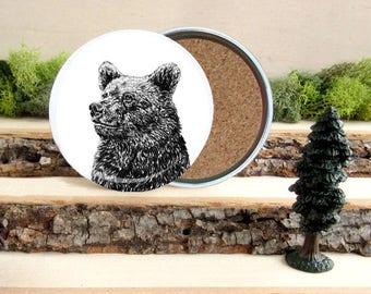 Grizzly Bear Coaster Set - Home Decor - Gift for Animal Lover or Outdoorsman - Cork-Bottom Coaster Set - Bears - I love bears