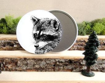 "Raccoon Pocket Mirror - Canadian Gift - Animal Pocket Mirror 3.5"" - Large Make Up Mirror - Gift under 10 dollars Girl Gift"
