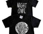NIGHT OWL TEE - Owl and Full Moon - Black Cotton Unisex T-Shirt - Full Moon Shirt - Full Moon Tee - Black & White Tee - Horned Owl Shirt