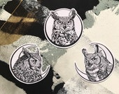 Owl and Moon Patches - Crescent Moon Full Moon Horned Owls - Owl Patch - Iron On Patch Horned Owl Iron-On patch Bird Patch Moon Phase