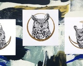Owl and Moon Print - Gold Leaf - Cresent Moon - Horned Owl - Print of an Original Drawing with Gold Leaf - Owl spirit Owl energy Moon Phase