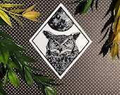 Owl Patch Moon Patch Iron On Woven Patch Embroidered Patch Horned Owl Iron-On Patch Patchgame Howling Owl patch Bird Patch