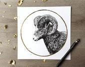 Big Horn Ram the Snow Moon February Print of Original Graphite Drawing with Gold Leaf Animal Portrait Ram Print Big Horned Sheep Print
