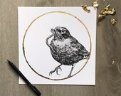 Robin - Worm Moon March -Print of an Original Graphite Drawing with Gold Leaf - Animal Portrait Robin and Worm Spring Equinox