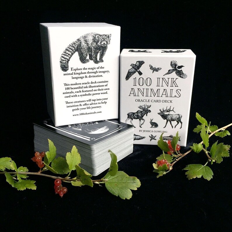 100 INK ANIMALS oracle deck  Animal Oracle 100 Cards Animal image 0