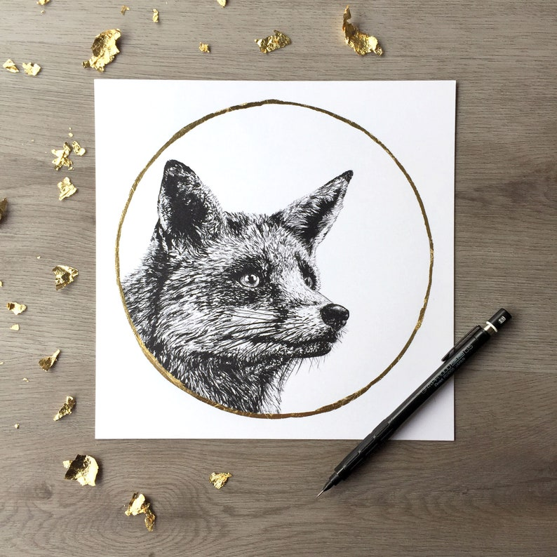 Red Fox & Gold Moon  Print of Original Graphite Drawing with image 0