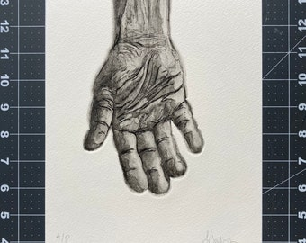 Helping Hand- Etching of a Human Hand - Intaglio Etching - Hand-Pulled Print