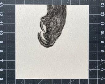 Barn Owl's Talon - Animal Etching - Intaglio Etching - Hand-Pulled Print