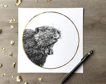 American Beaver November Beaver Moon - Print of Original Graphite Drawing with Gold Leaf Animal Portrait Beaver Print