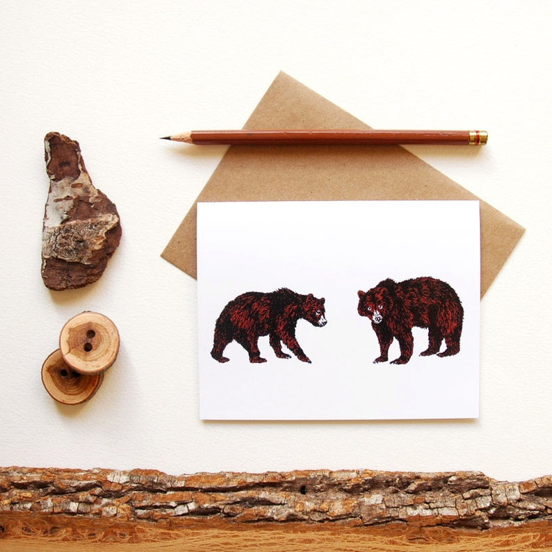 Pair of Bears Cards  Grizzly Bear Print  Illustrated image 0