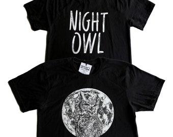 NIGHT OWL TEE - Owl and Full Moon - Black Cotton Unisex T-Shirt - Full Moon Shirt - Full Moon Tee - Black & White Tee - Horned Owl Shirt