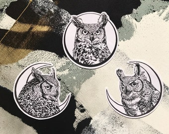 Owl and Moon Patches - Crescent Moon Full Moon Horned Owls - Owl Patch - Iron On Fabric Patch - Owl Bird Patch Moon Phase - not embroidered