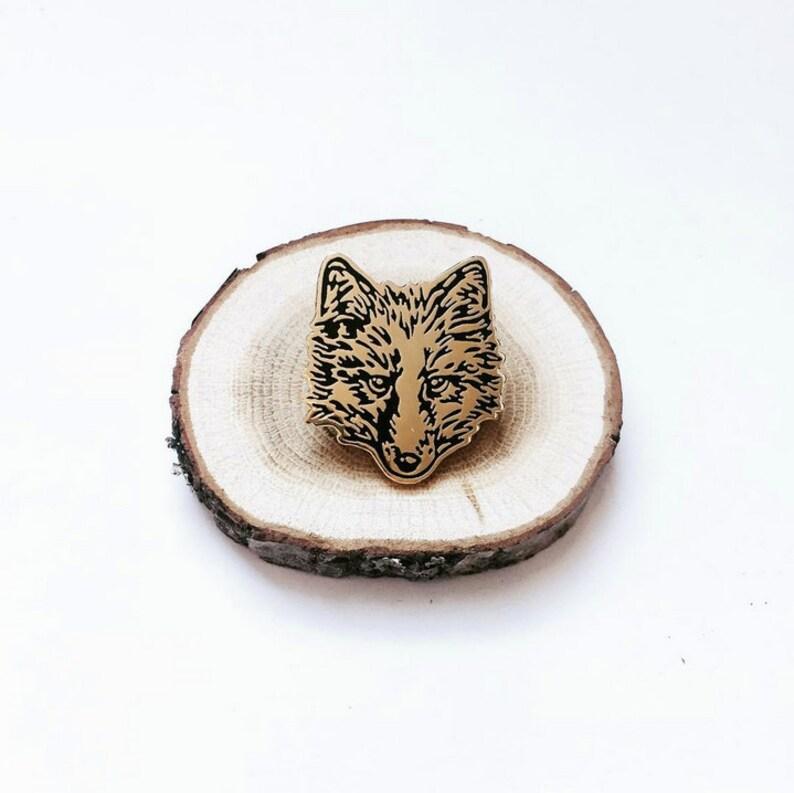 FUR FACE wolf fox Enamel Pin Wolf pin Fox pin Coyote pin Lapel image 0