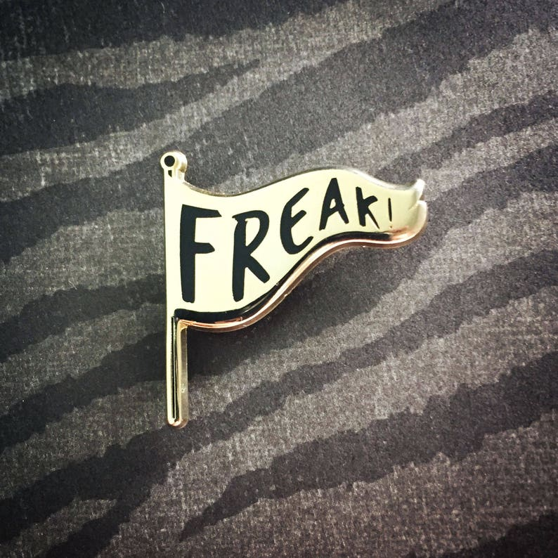 FREAK FLAG PIN  Gold and Black Enamel Pin freak show weirdo image 0