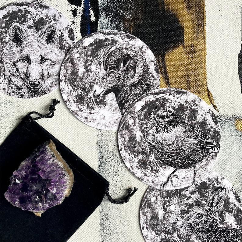 Full Moon Divination Cards  Circular Altar Cards  Full Moon image 1