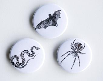"""Snake, Bat, Spider Magnets - Creepy Kids Set of Strong Magnets - 1.5"""" - Fridge Magnets - Animal Magnet Animal Decor Woodland kitchen"""