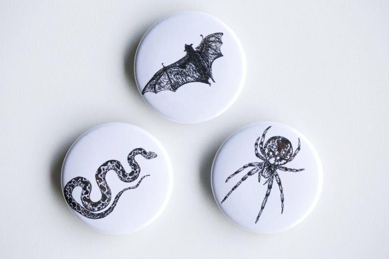 Snake Bat Spider Magnets  Creepy Kids Set of Strong Magnets image 0