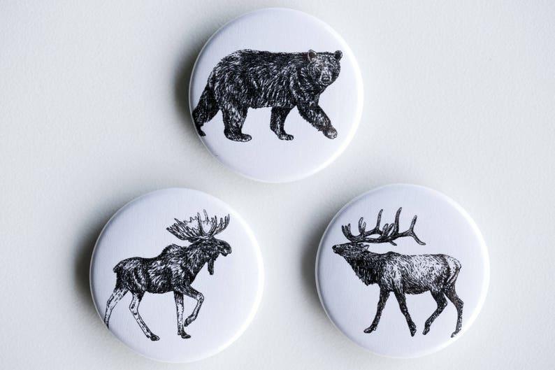 Elk Moose Bear Magnets  Big Boys Set of Strong Magnets  image 0
