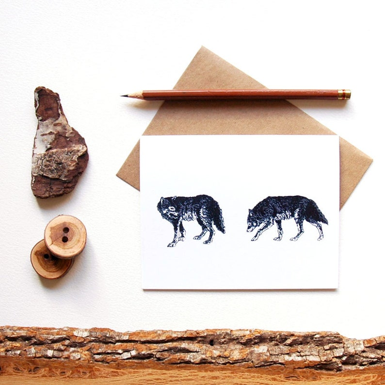 Gray Wolf Card  Pair of Wolves  Wolf Print  Wolf Art  image 0