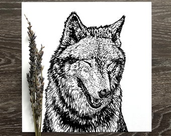 Smiling Animal Portrait - wolf, bunny, swan, racoon, big horn- digital print - wildlife art print - cabin decor - black and white modern