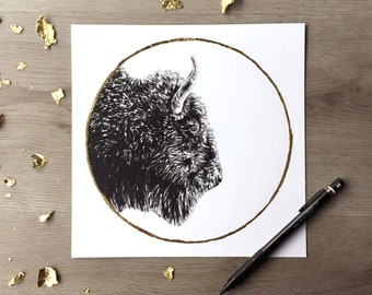 Bison hunter's moon october - Print of an Original Graphite Drawing with Gold Leaf - Animal Portrait Bison Print