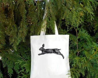 Jumping Rabbit Tote Bag Bunny Rabbit Tote Dog Bag Illustrated Hare Rabbit Gift for Bunny owner cute bunny tote bag groccery bag