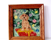 RESERVED vintage portrait pet painting: mighty finds