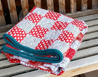 Modern St. Louis 16-Patch Red and Text Lap Quilt