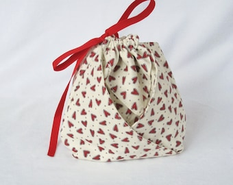 Origami Fabric Gift Bag - Red Hearts Heart and Soul by Sandy Gervais for Moda