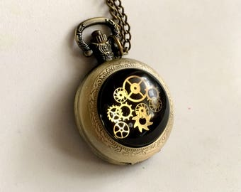 Pendant watch etsy 1pcs antiqued bronze color quartz pendant watch with 25mm glass steampunk cabochon mozeypictures