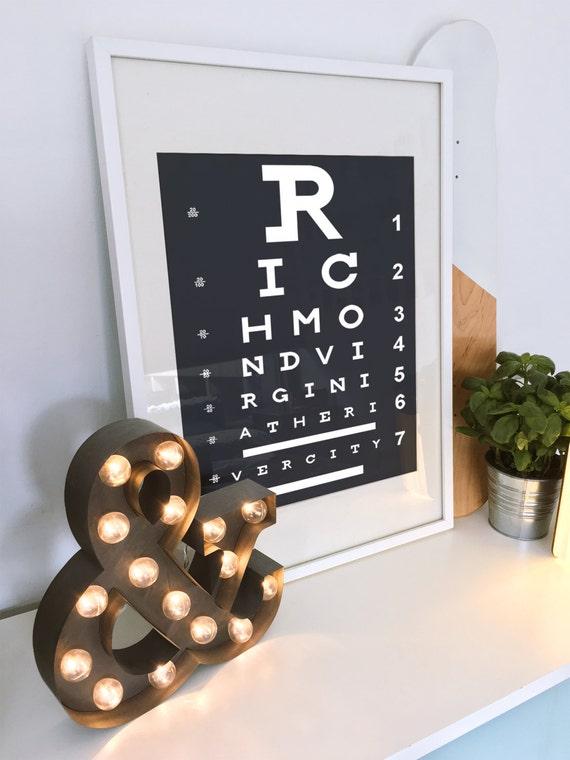 Arte de Virginia Richmond VA arte cartel optométrica | Etsy