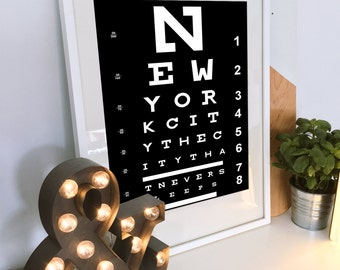 Eye Chart Wall Art - Unique Birthday Gift - New York City Typography - Bathroom Art - Gift for girlfriend