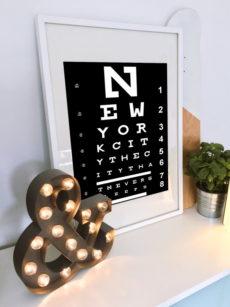 Eye Chart Wall Art Unique Birthday Gift New York City