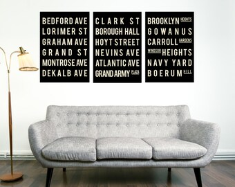 Subway Sign - Brooklyn Wall Art - New York City Poster - Subway Art Poster - Subway Sign Print - Wall Decorations for Living Room