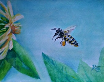 Original Watercolor, I'LL BEE THERE - Original Watercolor Painting, honey bee, flower, garden, bee, nature, signed by the artist
