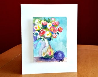 """Hand Painted Card,""""Purple Globe & Flowers"""", Original Watercolor Painting, 3D, ACEO Watercolor ACEO Card, Flowers, still life, mini painting"""