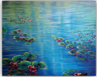 Oil Painting, HUSH-MOMENT, Huge, Original Oil Painting not print, waterlily, waterlilies, lily pads, lotus flowers, pond, Monet pond